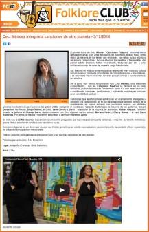 Crítica Disco Canciones Fugaces en Folclore Club Diciembre 2014