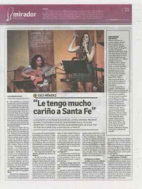 Nota en El Mirador Provincia de Santa Fe Fecha 16-11-14